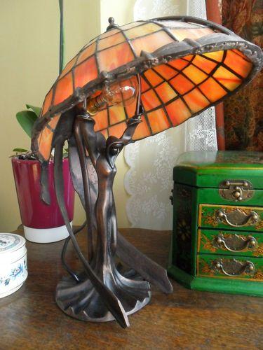 Tiffany Flying Lady Lamp Bronze Statue Lighting