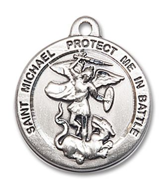 Raphael the Archangel Pendant 7//8 x 3//4 inches with Heavy Curb Chain Sterling Silver St