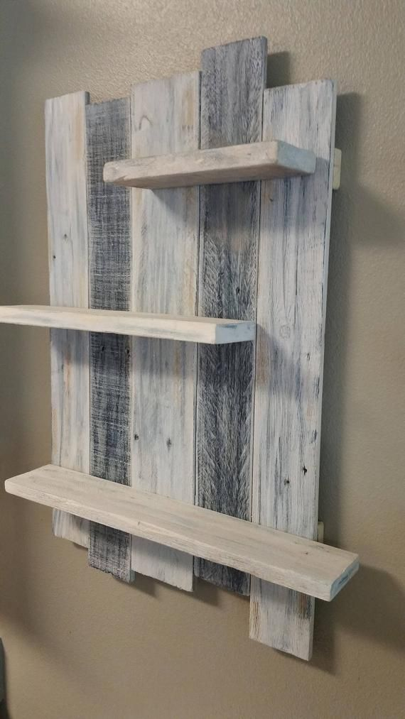 Photo of Shelves beach kitchen bathroom shelf white washed rustic wall hanging shelf