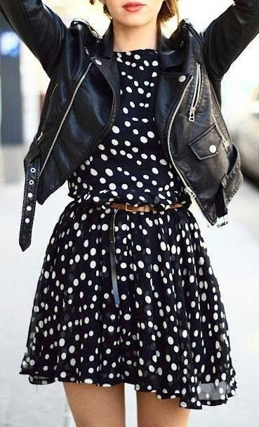 Black leather jacket on short dress is all what u need