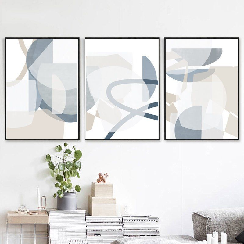 Geometric Abstract Set Of 3 Posters Gray Blue Wall Art Pastel Etsy Modern Geometric Art Geometric Art Blue Wall Art