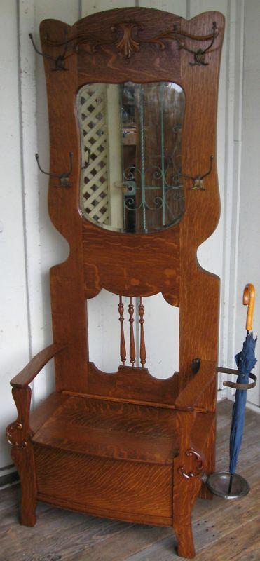Details About Antique Oak Hall Tree Carved Ornate Dragon