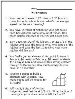 Here Are Some Math Word Problems Perfect for 6th Graders | Math ...