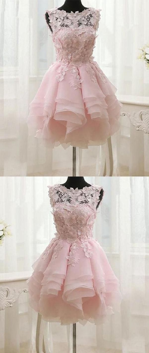 Outlet luxurious prom dresses pink prom dresses short lace prom