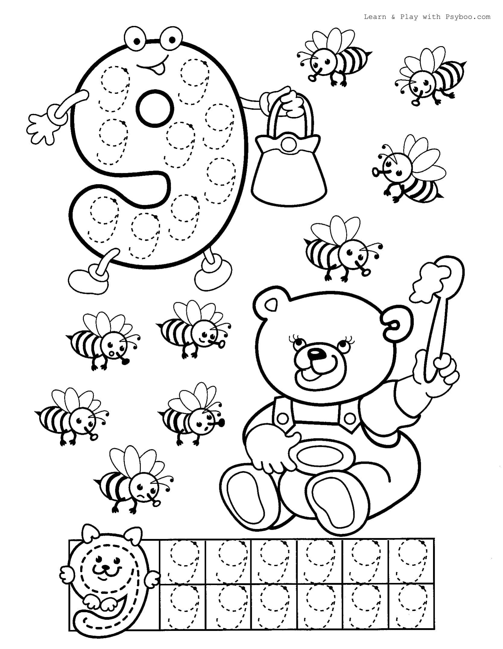Free Printable Number 9 Coloring Worksheet