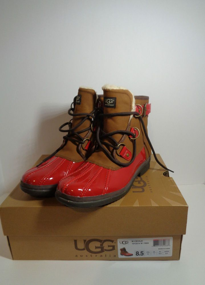 74a7724939c UGG CECILE RED LEATHER SHEEPSKIN WATERPROOF DUCK BOOTS, US 8.5 EU ...