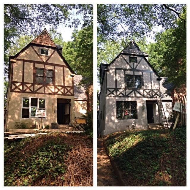 A New Exterior Color Scheme Tudor House Exterior Tudor Exterior Paint Home Exterior Makeover
