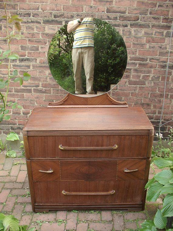 Vintage 1940 S Huntley Furniture 3 Drawer Dresser With Mirror Art Deco Antique Mid Century Modern Bedroom