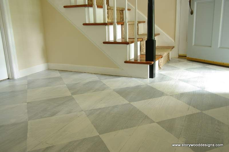 Painted old hardwood floors in a whitewashed checkerboard for Painting vinyl floors with chalk paint
