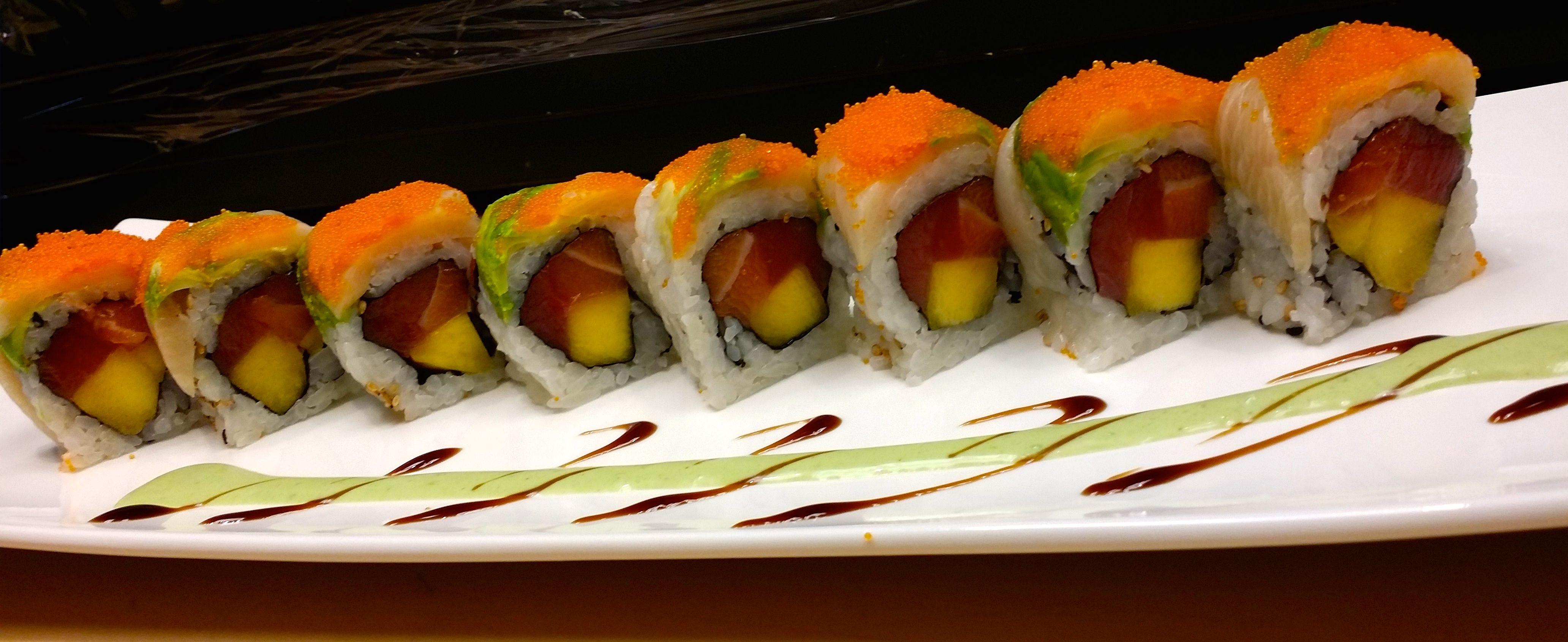 Sunshine Roll Maki Salmon Tuna Mango Yellow Tail Avocado