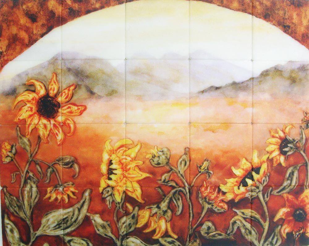 Sunflower field tile kitchen backsplash mural by artist linda paul sunflower kitchen decor tile murals western backsplash of sunflowers dailygadgetfo Image collections