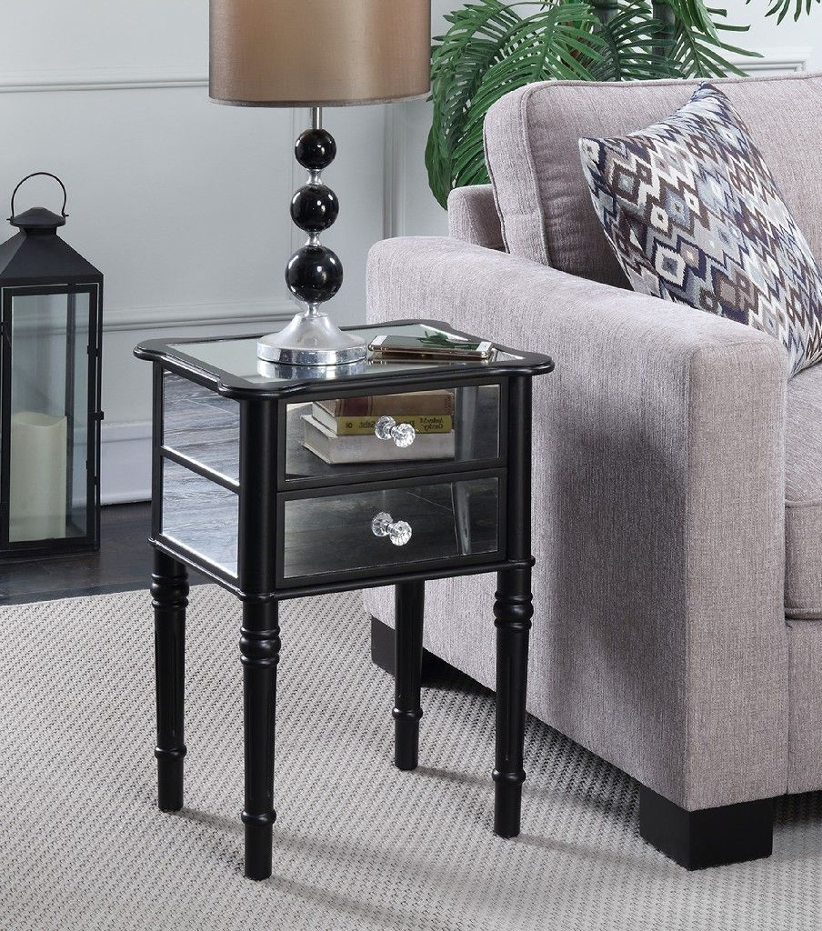 Gold Coast Mayfair End Table In Black Mirror Convenience Concepts 413745bl In 2020 Mirrored End Table End Tables Modern End Tables