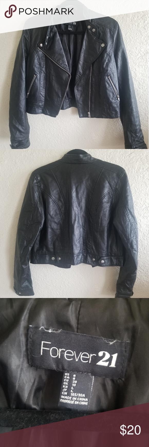 Forever 21 Faux Black Leather Biker Jacket Black Leather Biker Jacket Jackets Biker Jacket [ 1740 x 580 Pixel ]