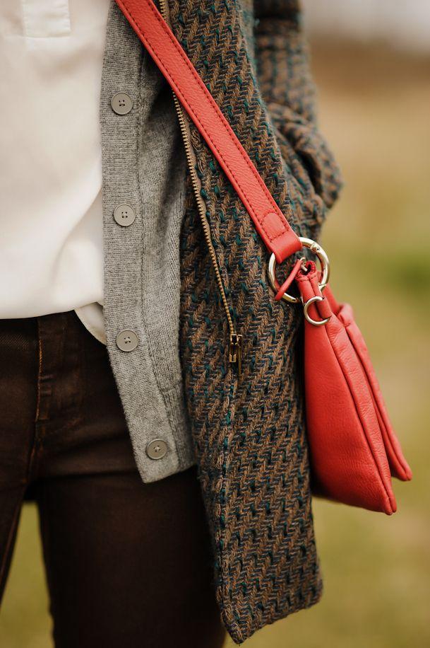 red bag + grey cardigan + brown coat + white top