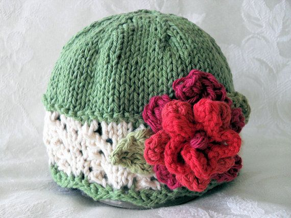 Baby Knit Hat Pattern With Flower Pattern