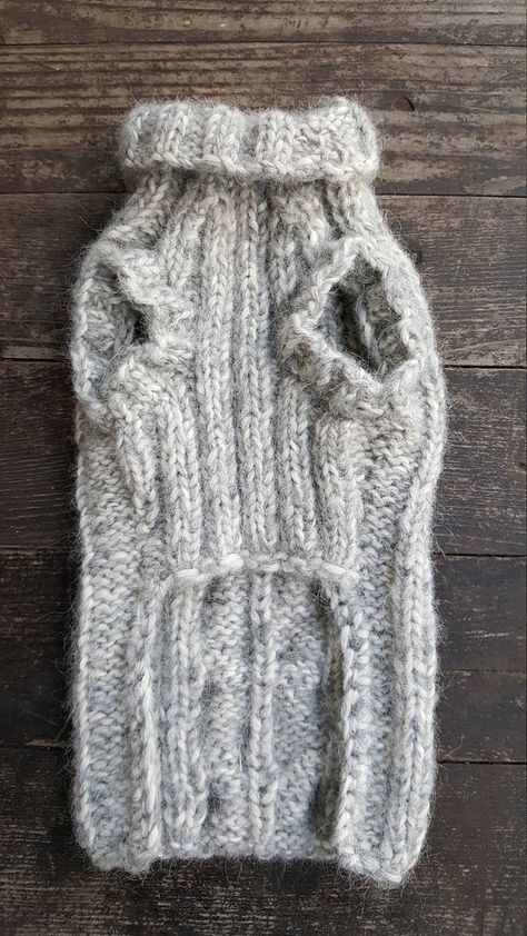 Light Gray Cable Knit Dog Sweater -Small Dog Sweater-Chihuahua ...