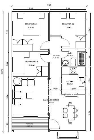 Modelos de casas de una planta 3 dormitorios casa for Modelos de dormitorios