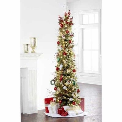 7 Ft Pre Lit Cashmere Pencil Tree Christmas