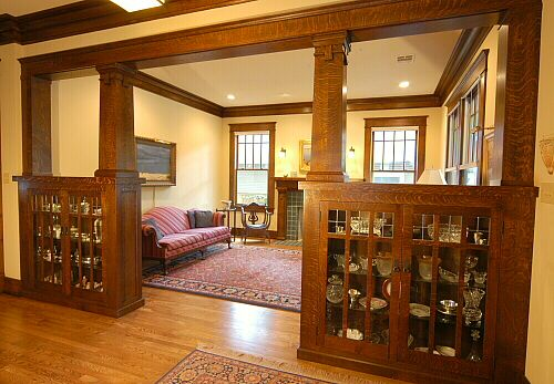 Arts And Crafts Style Living Room: Love The Shelving In The Half Wall. Neat