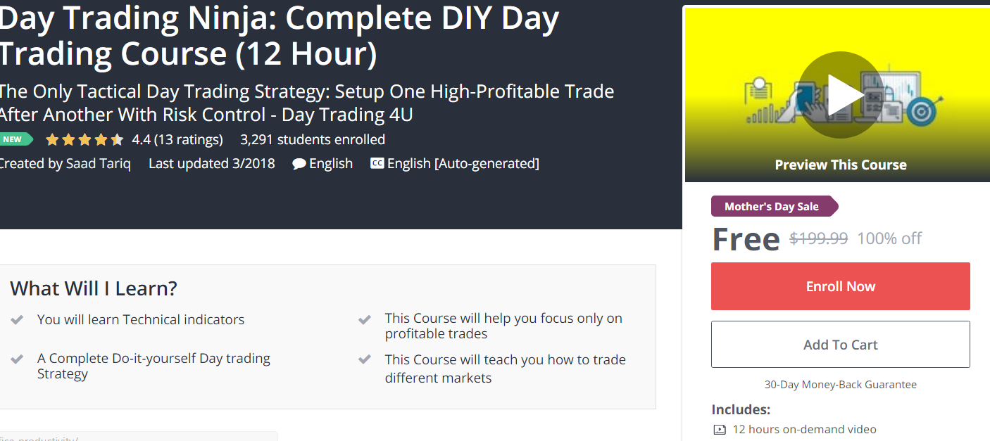 FREE] Day Trading Ninja: Complete DIY Day Trading Course (12 Hour