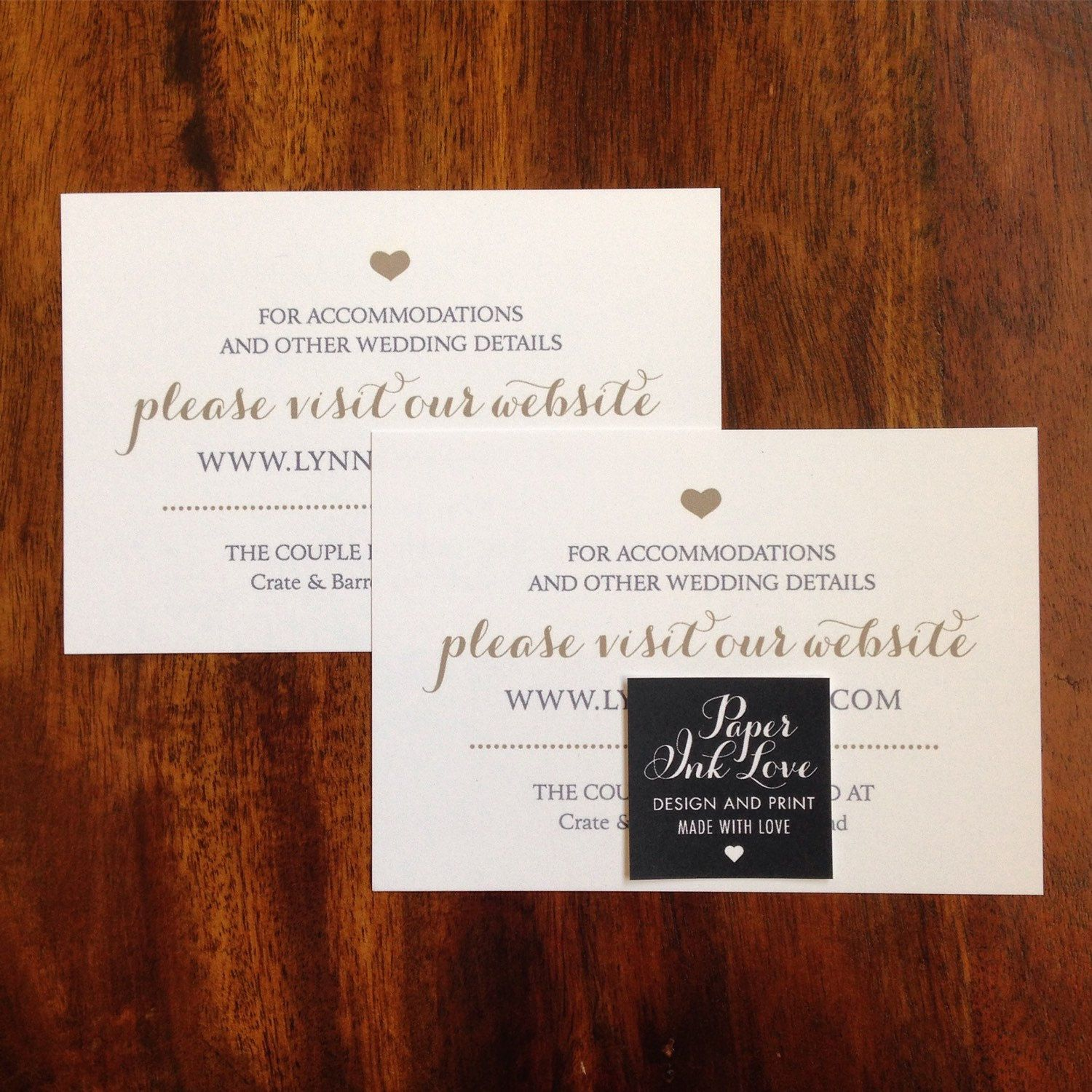Wedding Website Enclosure Cards / Invitation Inserts With