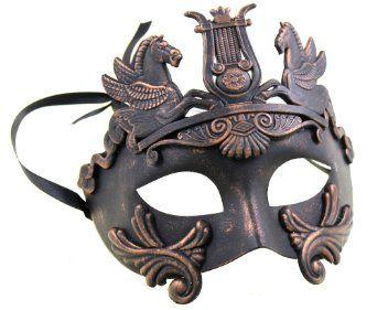 Amazon.com: RedSkyTrader Mens Mythological Greek Venetian Mask One Size Fits Most Copper: Clothing