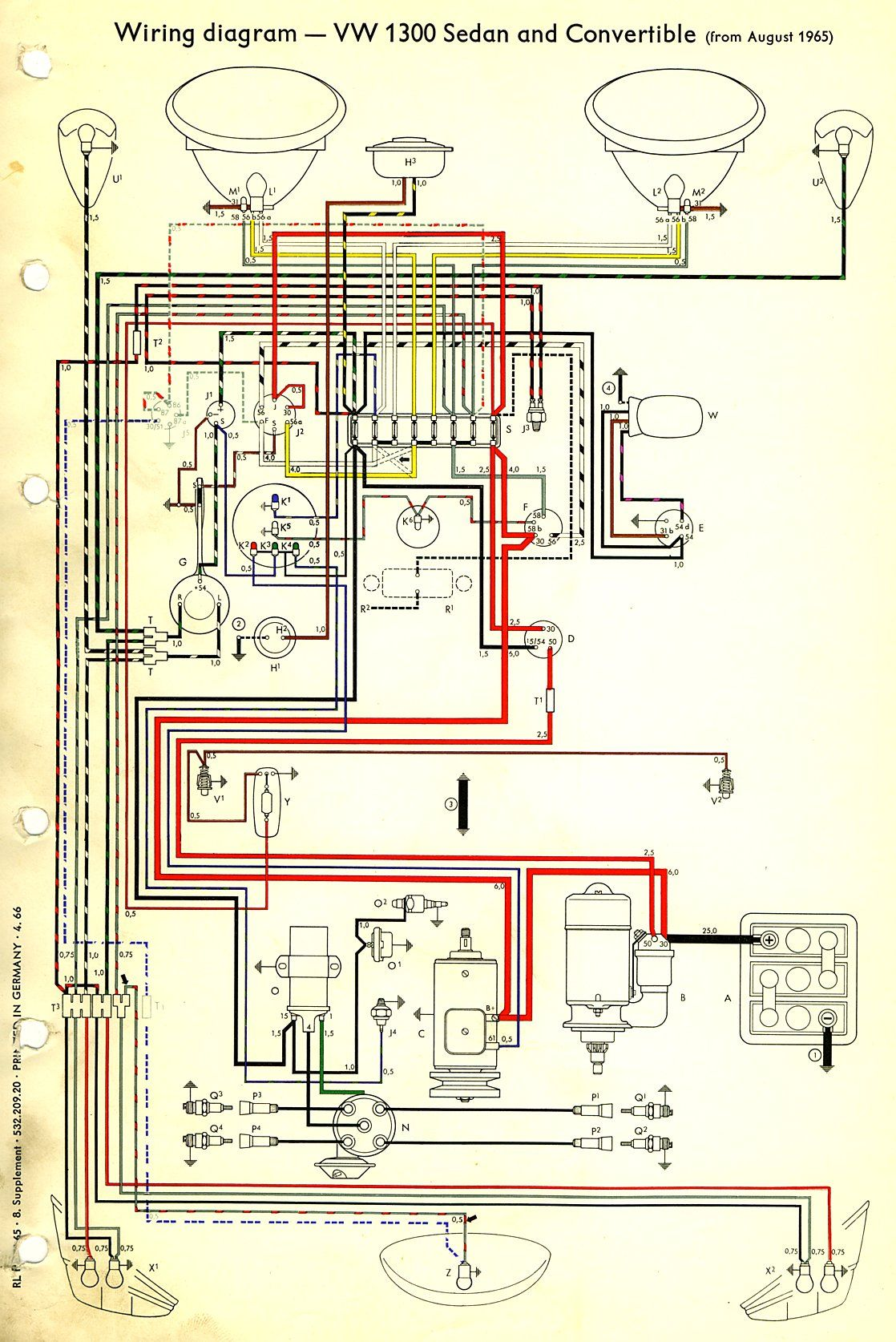 1966 Beetle Wiring Diagram Thegoldenbug Com Vw Beetles Vw Bug Vw Dune Buggy