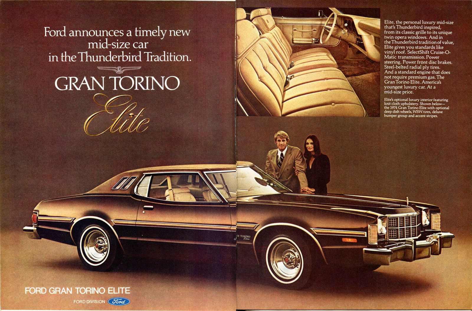 1974 Ford Gran Torino Elite Advertising Road Track March 1974 Car Advertising Mid Size Car Ford