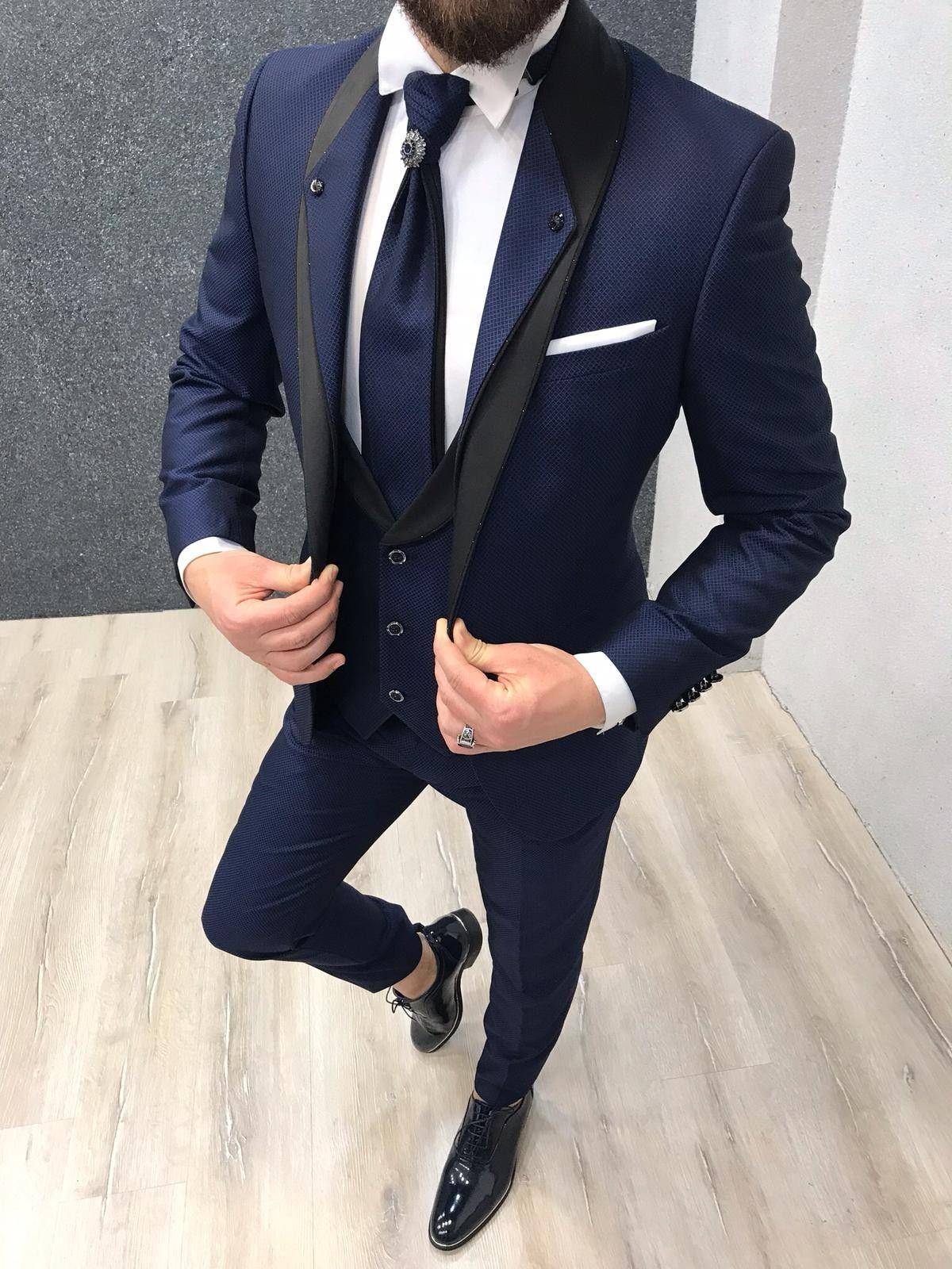 Buy Navy Blue Slim Fit Groom Suit by with in