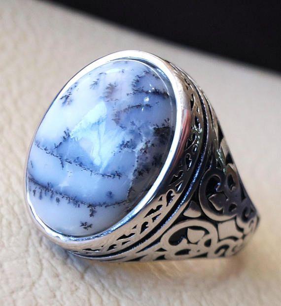 179125024b Men ring Dendritic opal agate natural stone semi precious oval ...