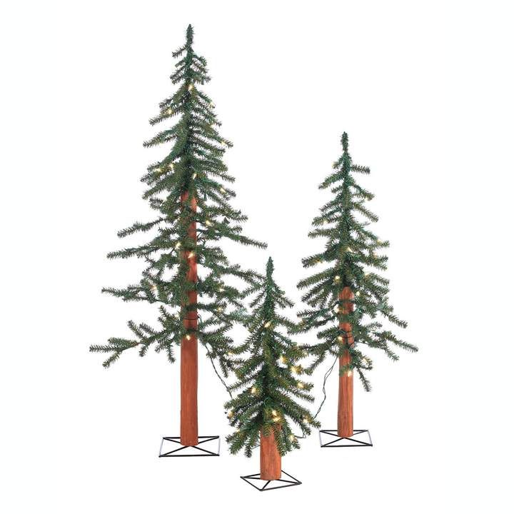 Sterling 3-piece Pre-Lit Artificial Alpine Christmas Tree Set in