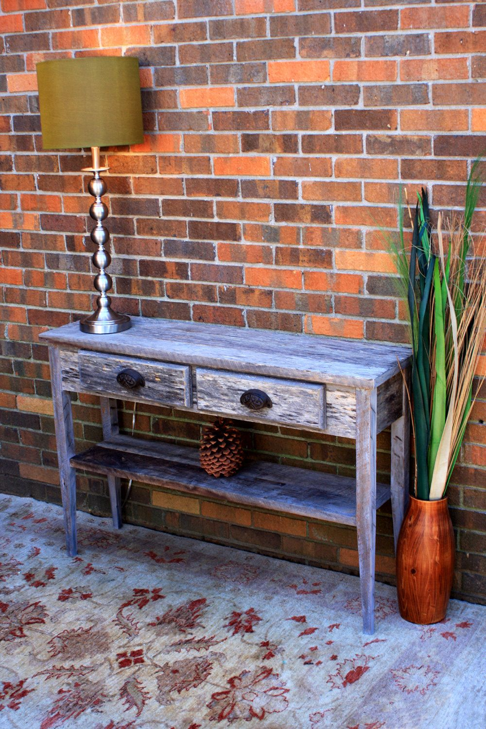 Gray Wood Hallway Table Gray Reclaimed Sofa Table Wood Console Table Reclaimed Wood Entry Table 45 L X 12 1 4 D X 30 T Natural Finish Wood Entry Table Grey Wood Rustic Contemporary