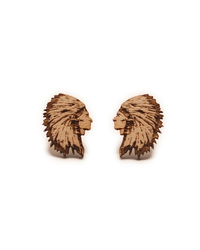 Goodwood Nyc Chief Wooden Earrings Natural