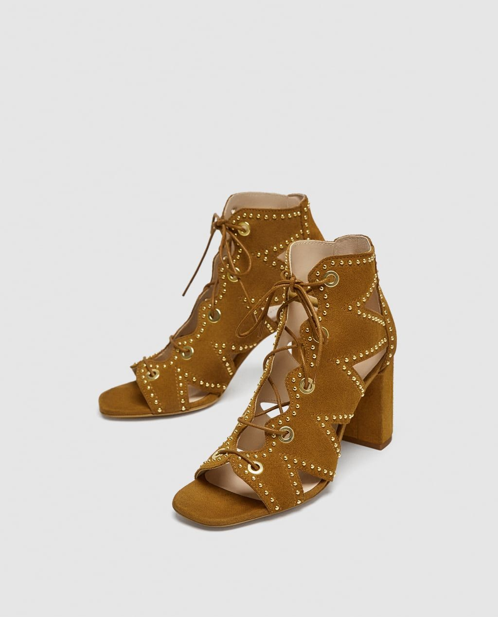 a730edfb936 Image 4 of LEATHER LACE-UP SANDALS from Zara ...