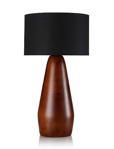Chunky wood tall table lamp ms