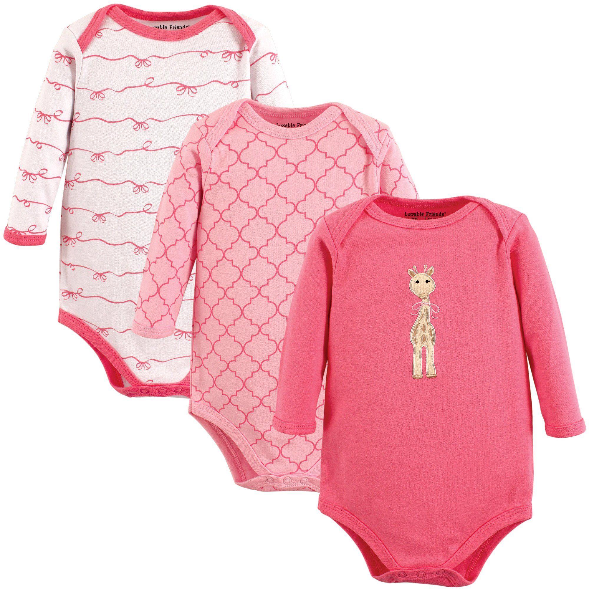 57d834c25 Luvable Friends Baby Long Sleeve Bodysuit 3 Pack
