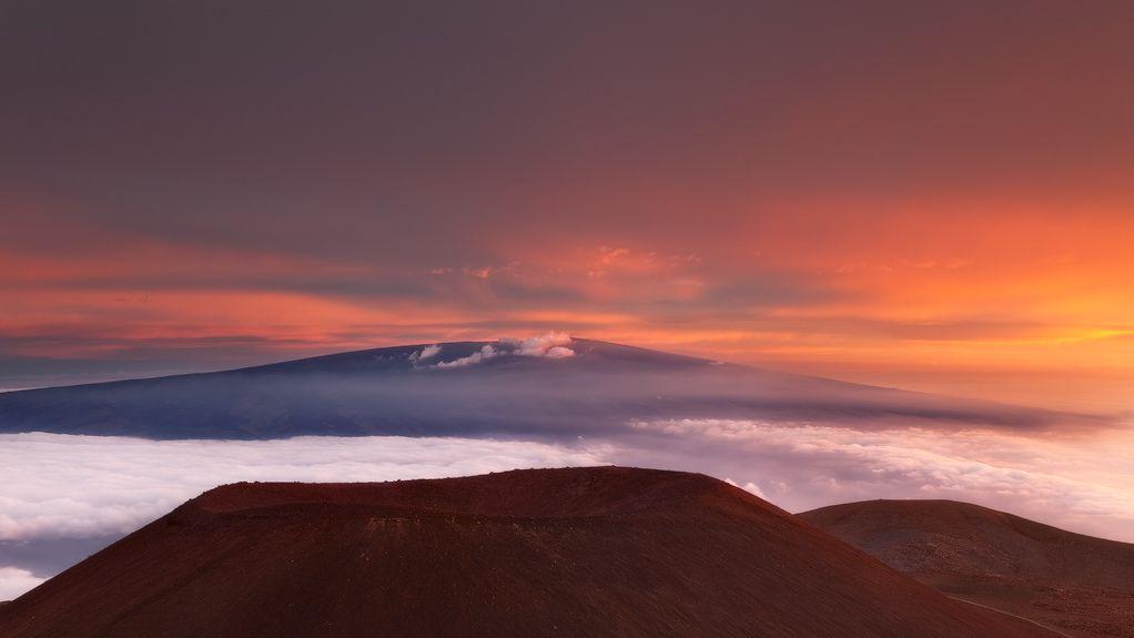 Summit   by D Breezy - davidthompsonphotography.com / sunset over Mauna Loa, view from Mauna Kea. Hawaii