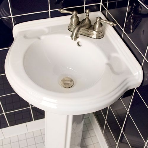 Gaston Corner Porcelain Pedestal Sink  Corner Pedestal Sink Mesmerizing Corner Sink For Small Bathroom Design Ideas