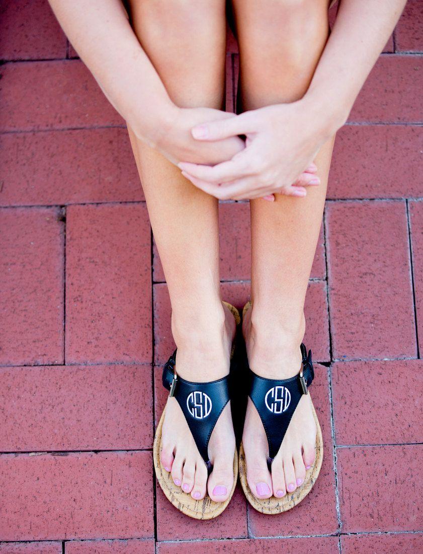 51a2e736badd3 Monogram Sandals - Black Initial Sandals - Personalized Sandals ...