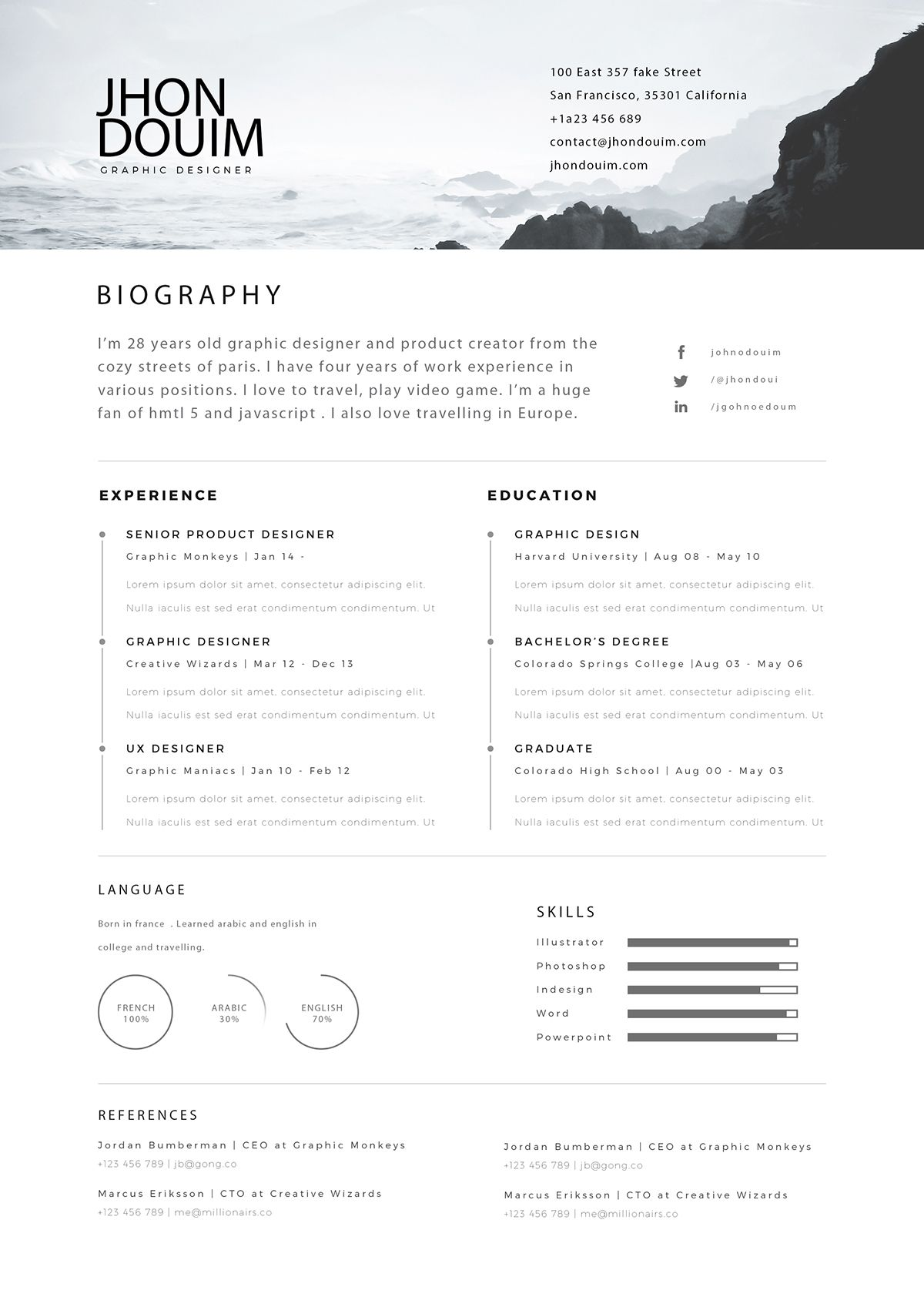free resume   psd gift   on behance