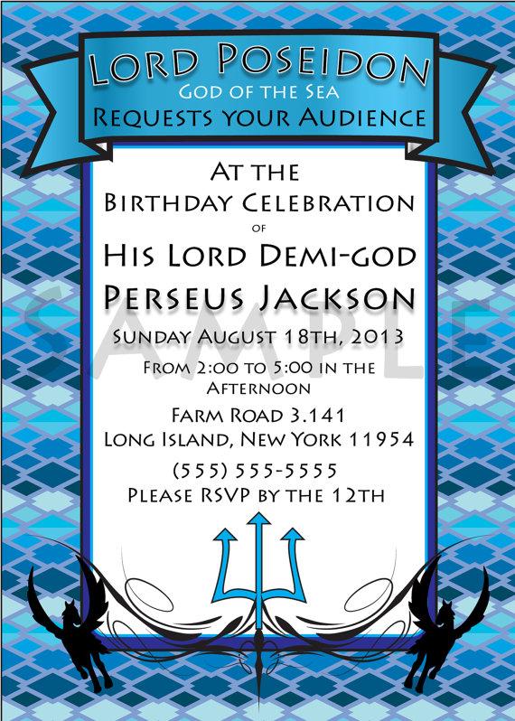 DemigodPercy Jackson InspiredGreek God by TionneStrife on Etsy – Percy Jackson Birthday Invitations