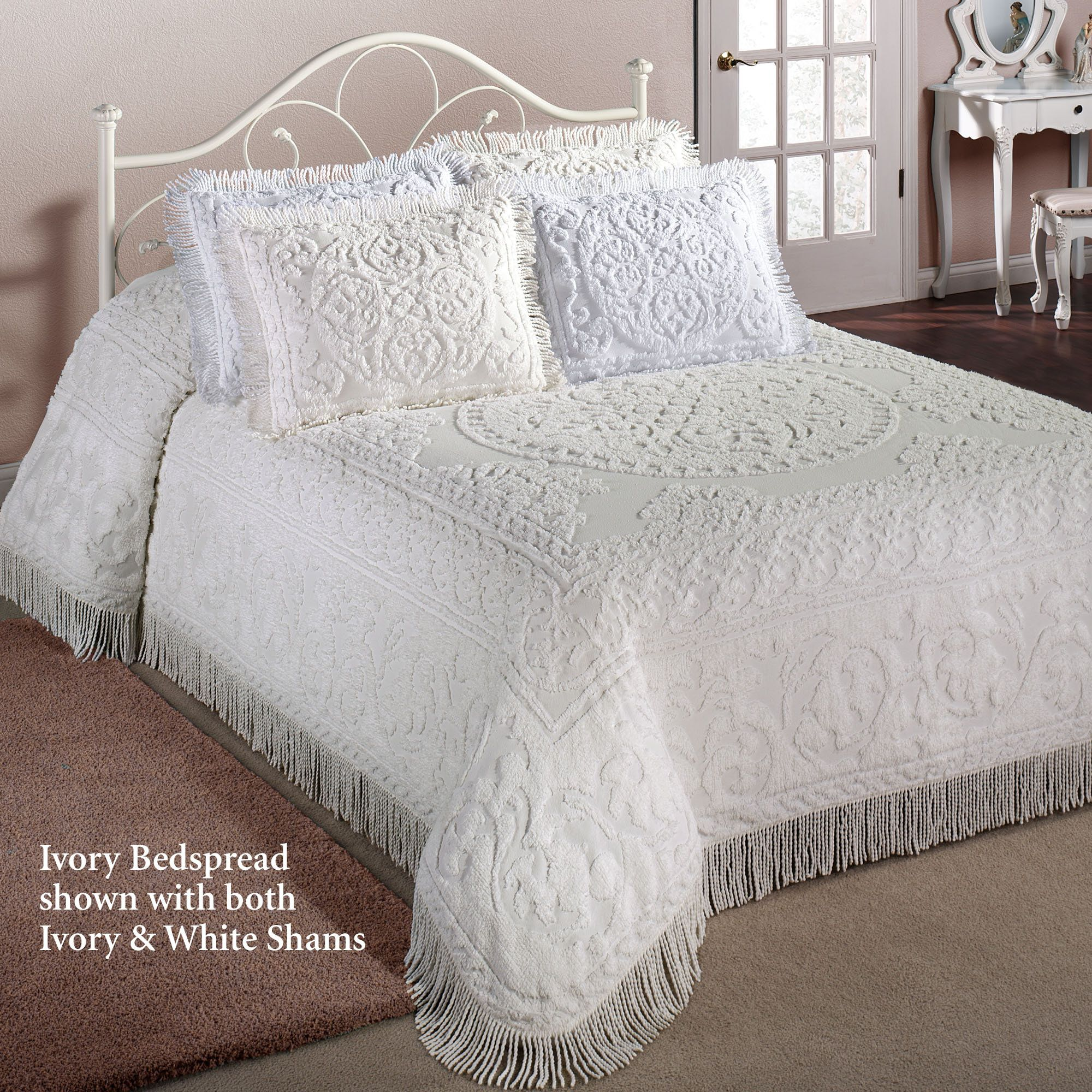 Cotton Chenille Medallion Bedspread Bedding Bed spreads