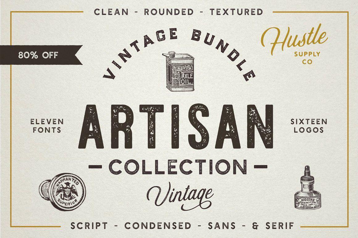 The Artisan Collection Font Bundle Retro Font Lettering Font Bundles