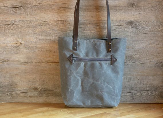 Waxed canvas tote bag  Waxed cotton bag  by Creazionidiangelina