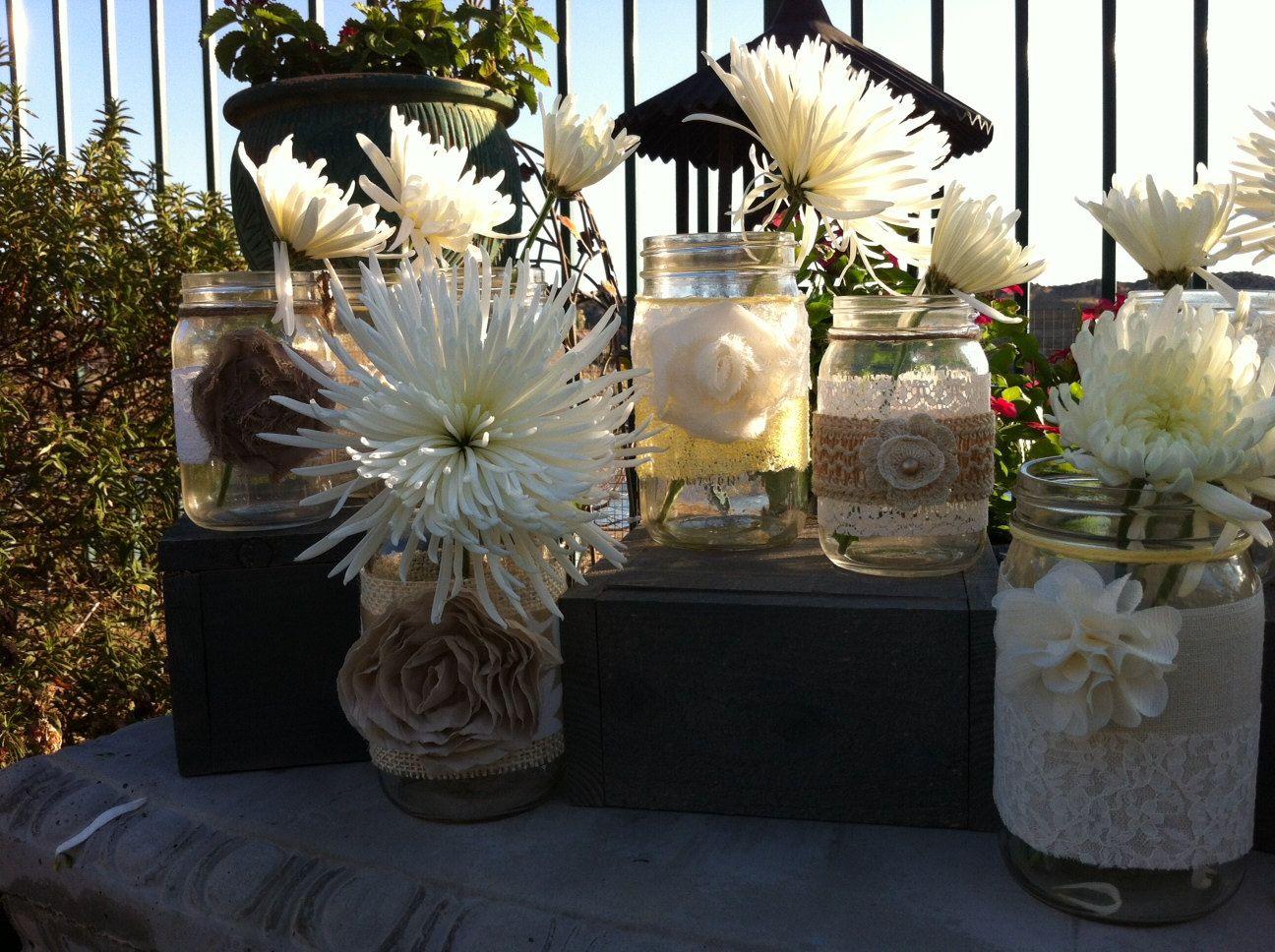 Rustic Wedding Decor 15 Bulk Burlap Lace Mason Jars For Wedding