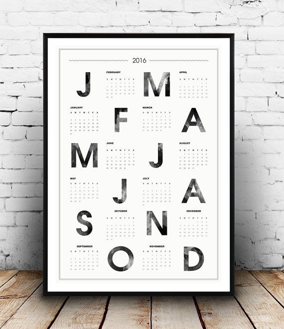 calendrier 2016 affiche de typographie scandinave aquarelle impression calendrier mural. Black Bedroom Furniture Sets. Home Design Ideas