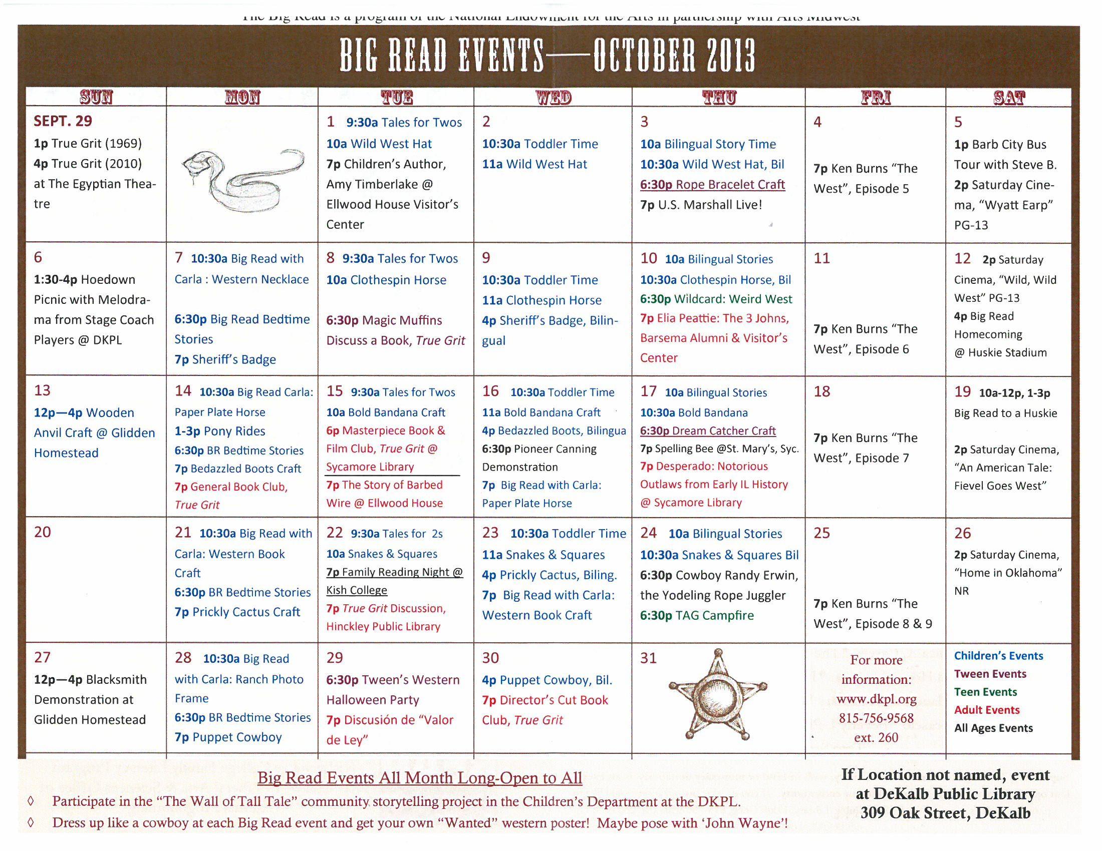 Event Calendar Courtesy Of Dekalb Public Library Children S Author True Grit Event Calendar