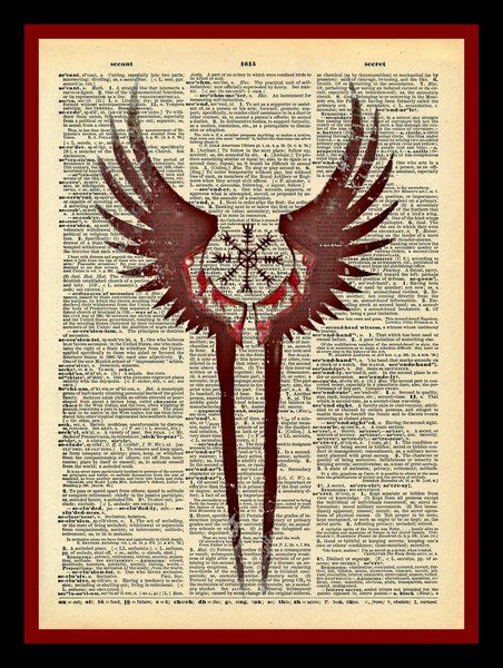 valkyrie wings protection symbol print vintage dictionary page tattoo pinte. Black Bedroom Furniture Sets. Home Design Ideas