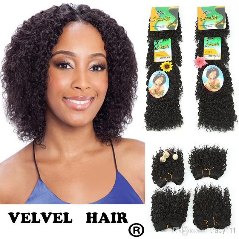 Adorable Bebe Curl Color1 Kiss Curl Human Hair Blend Synthetic Hair Extension Premiium Short Curly Hair Weft Ha Wholesale Human Hair Weave Hairstyles Hair Weft