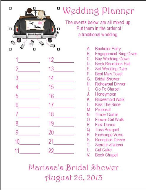 24 Personalized WEDDING PLANNER Bridal Shower Game Personalized